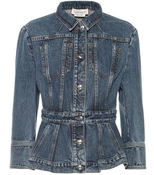 Alexander McQueen Cotton-denim jacket in blue