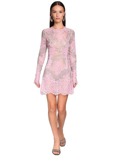 ERMANNO SCERVINO Embellished Sheer Lace Mini Dress in pink