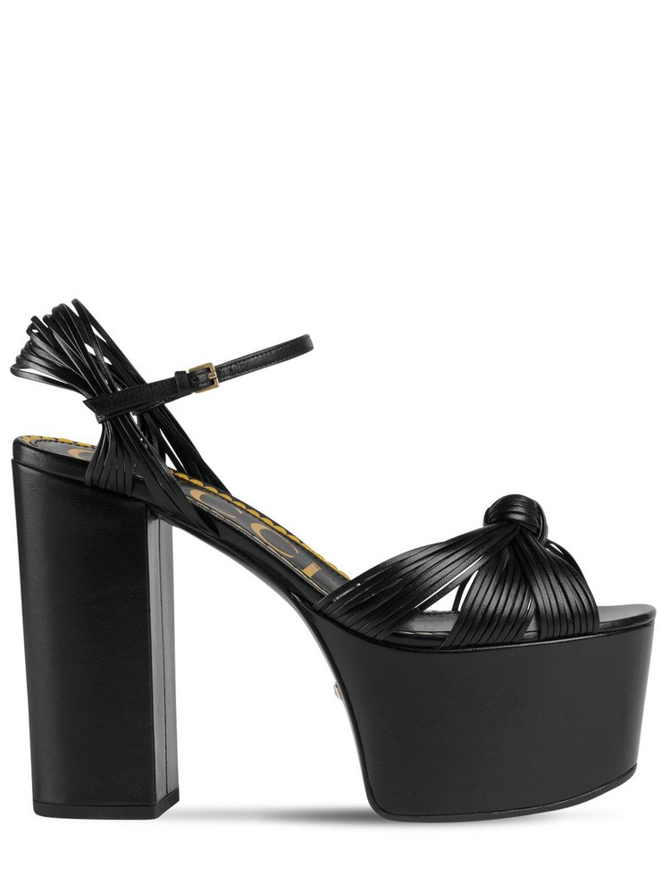 GUCCI 125mm Crawford Leather Platform Sandals in black