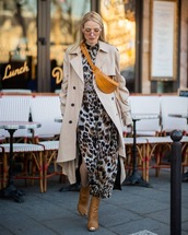 coat,trench coat,brown boots,leopard print,maxi dress,asymmetrical,double breasted,yellow bag,belt bag