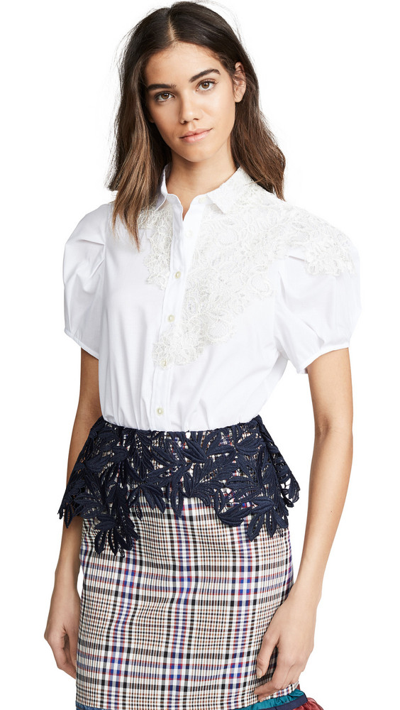 Kolor Lace Inset Collared Top in white
