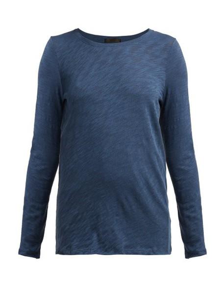 Atm - Long Sleeved Slubbed Cotton Jersey T Shirt - Womens - Dark Blue
