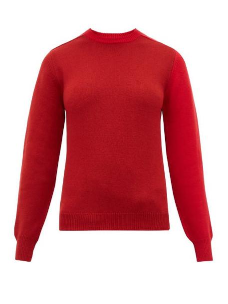 Sara Lanzi - Patchwork Merino Wool Blend Sweater - Womens - Red