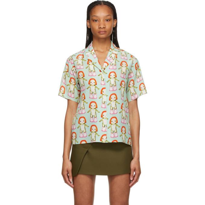 Sandy Liang Green Silk Margot Short Sleeve Shirt in mint