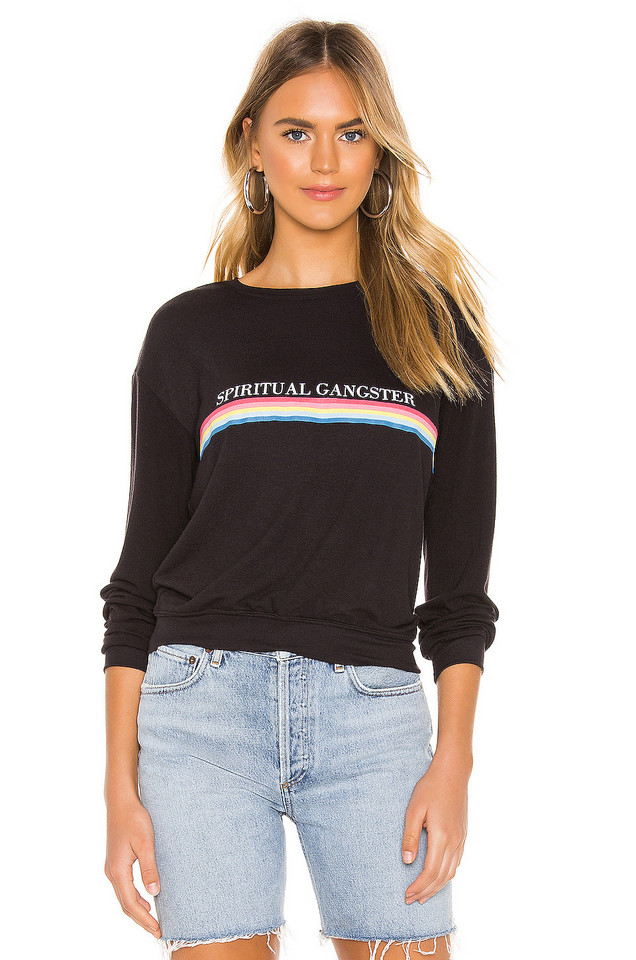 Spiritual Gangster SG Rainbow Neck Savasana Sweater in black