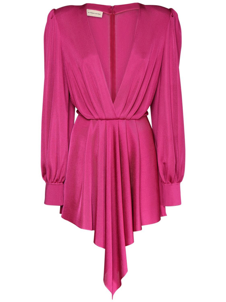 ALEXANDRE VAUTHIER Viscose Knit Draped Mini Dress in fuchsia