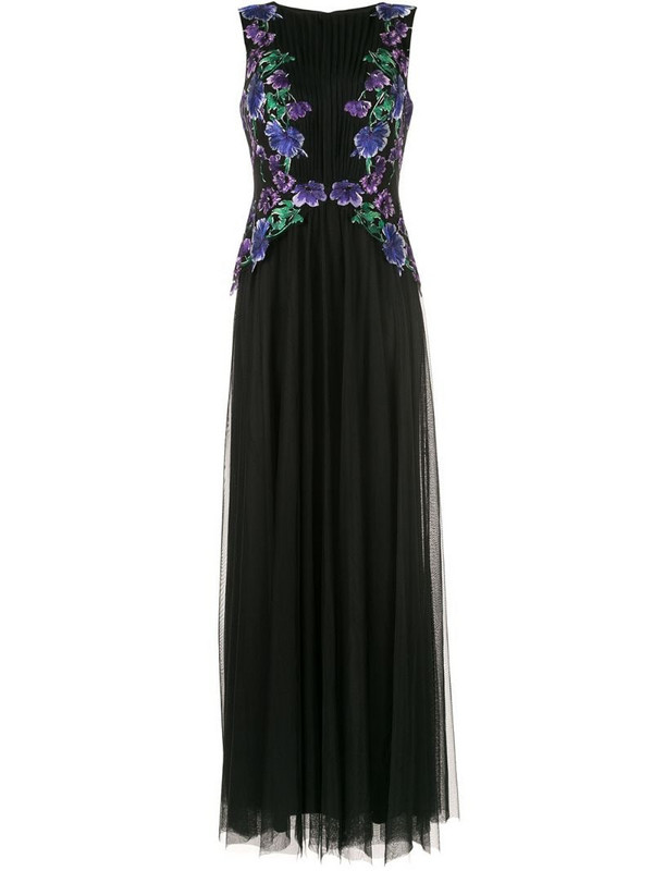 Tadashi Shoji floral embroidered gown in black