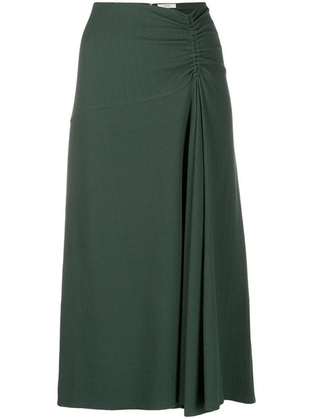 Vince gathered-detail midi skirt in green