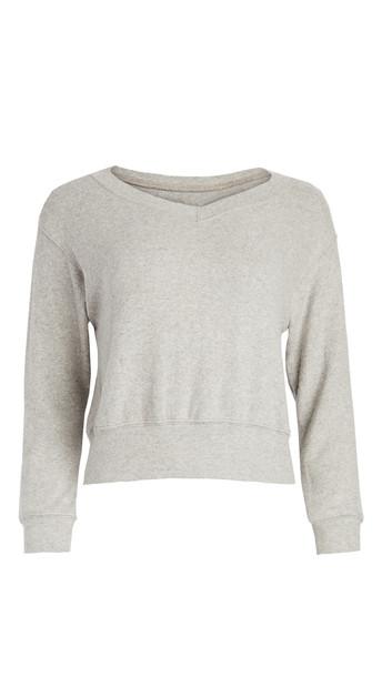 Velvet V Neck Sweater in grey