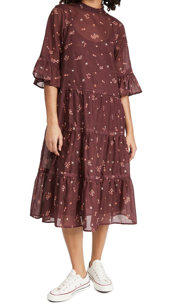 Warm Glastonbury Long Dress in burgundy