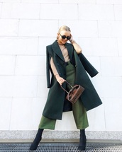 coat,wool coat,green coat,long coat,sock boots,heel boots,green,high waisted pants,wide-leg pants,brown bag,handbag,turtleneck