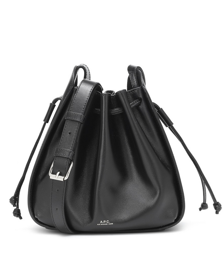 A.P.C. Courtney Small leather bucket bag in black