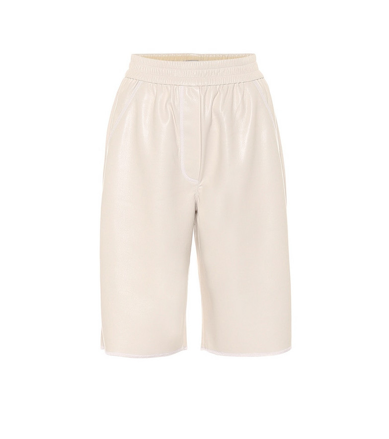 Nanushka Yolie faux-leather Bermuda shorts in white