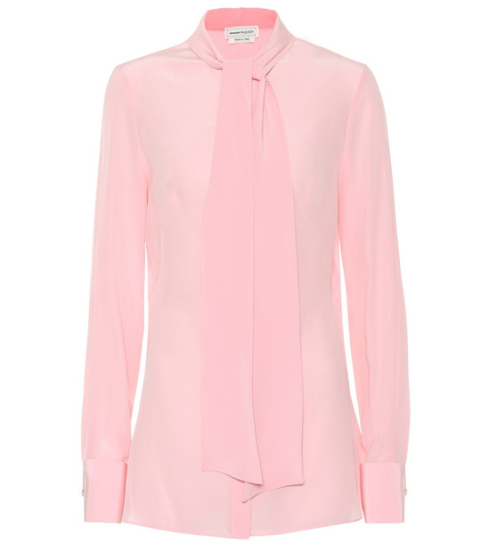 Alexander McQueen Silk blouse in pink