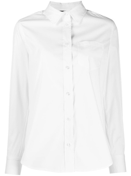 Twin-Set long-sleeve fitted shirt in white