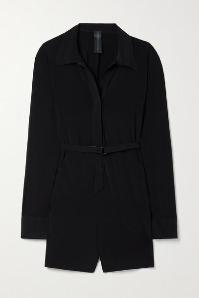 NORMA KAMALI - Belted Stretch-jersey Playsuit - Black