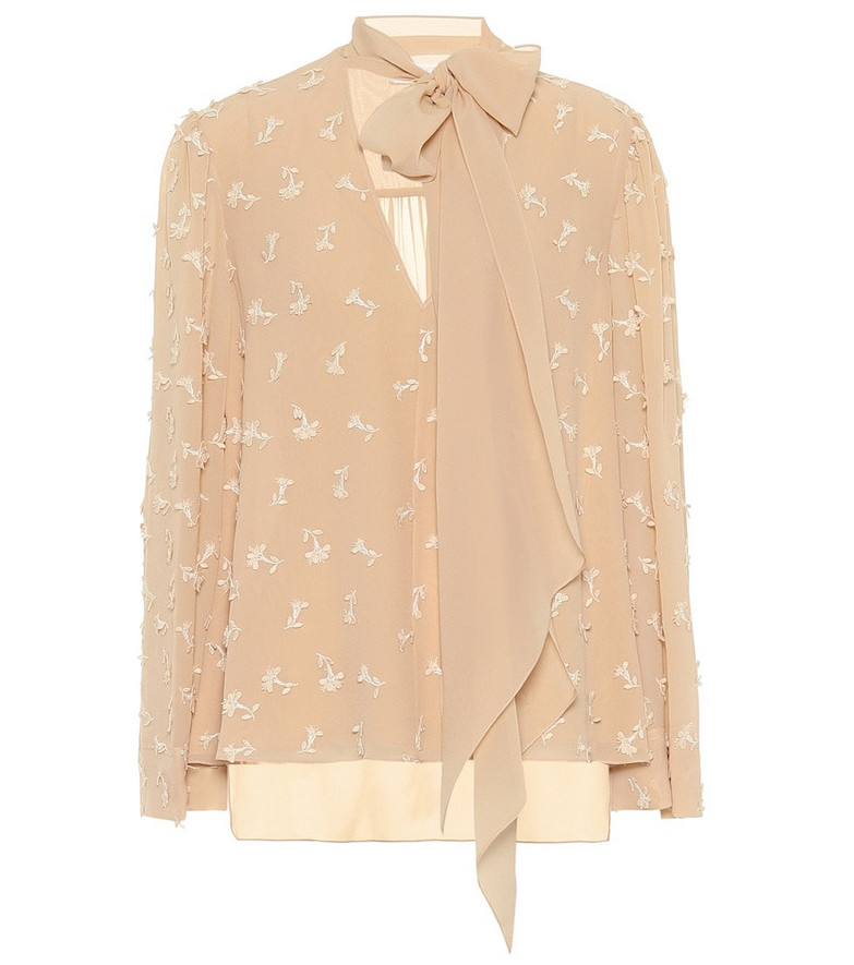 Chloé Embroidered silk blouse in beige