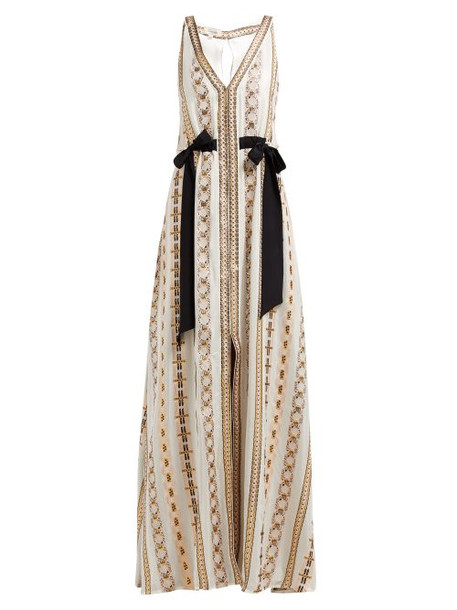 Temperley London - Spirit Ribbon Satin Maxi Dress - Womens - Pink Multi