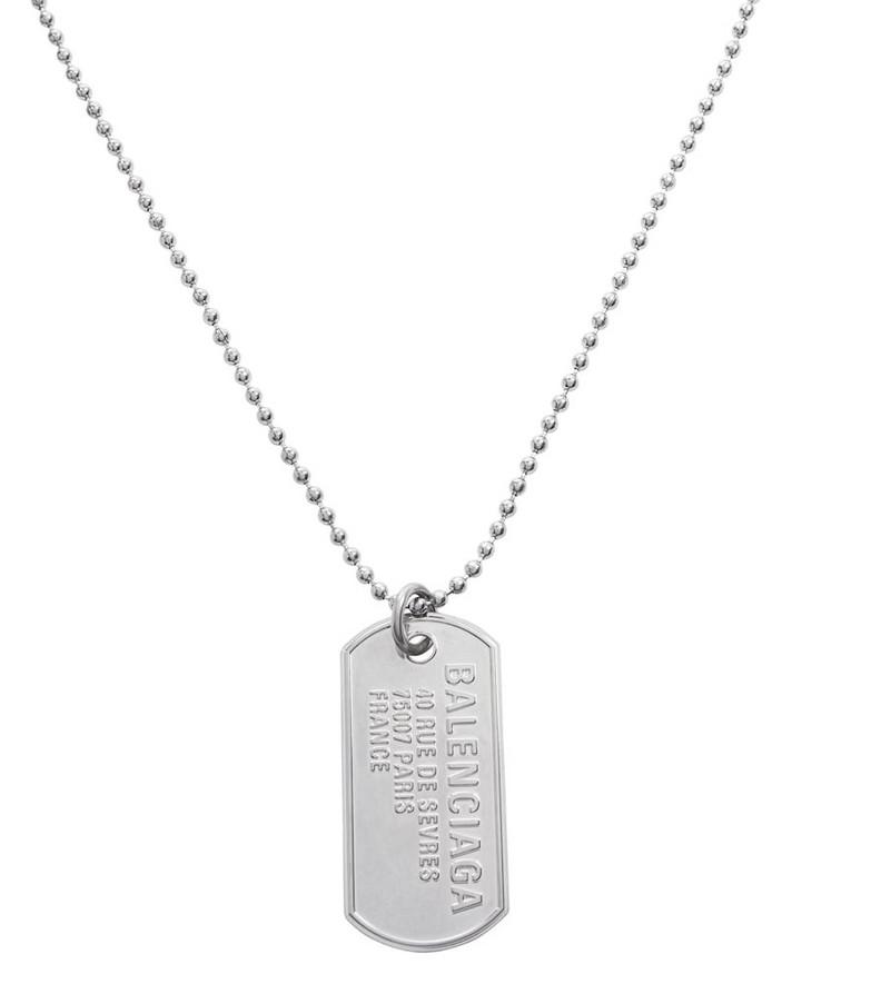 Balenciaga Punk Tag necklace in silver