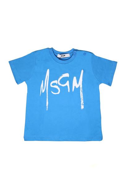 MSGM Light Blue T-shirt With Black Lettering