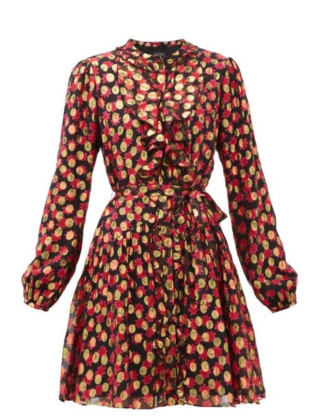 Saloni - Tilly Floral-print Polka-dot Jacquard Dress - Womens - Black Red