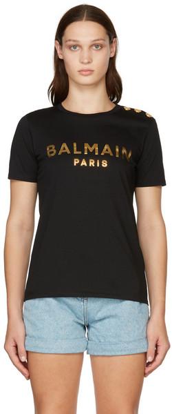 Balmain Black & Gold Three-Button Metallic Logo T- Shirt in noir
