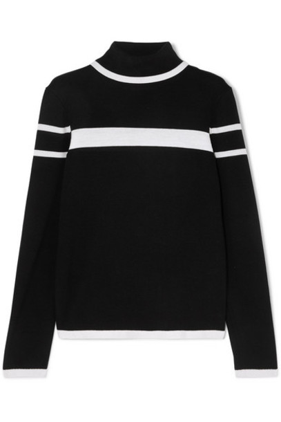 Erin Snow - Kito Striped Merino Wool Turtleneck Sweater - Black