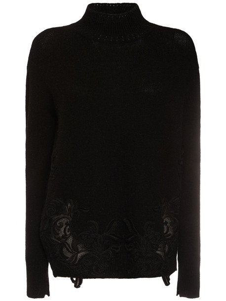 ERMANNO SCERVINO Wool & Cashmere Knit Sweater W/ Lace in black