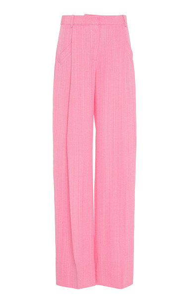 Jacquemus Loya Pleated Silk-Blend Wide-Leg Trousers Size: 34 in pink