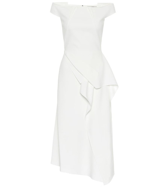 Roland Mouret Arch off-the-shoulder midi dress in white