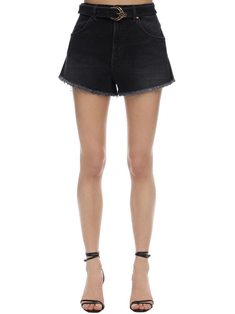 ROBERTO CAVALLI Cotton Denim Shorts With Belt in black
