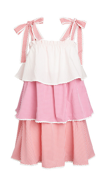 ENGLISH FACTORY Colorblock Tiered Dress in pink / multi