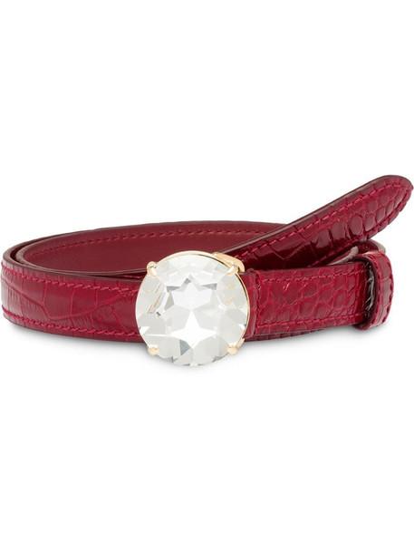 Miu Miu embellished buckle belt in red