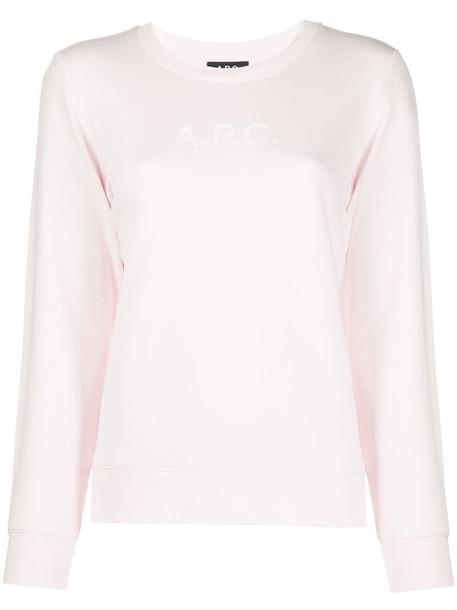 A.P.C. logo long-sleeve sweatshirt in pink