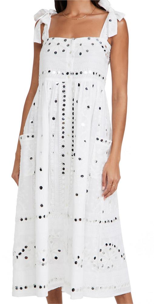 Juliet Dunn Tie Shoulder Dress in white