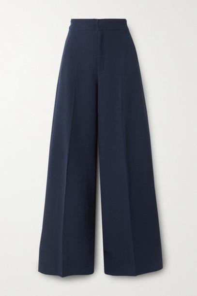 Roland Mouret - Merlon Pleated Wool-crepe Wide-leg Pants - Navy