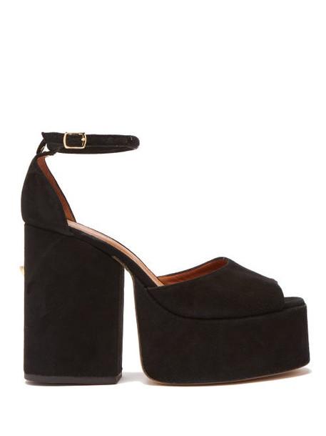 Osman - Gesa Studded Suede Platform Sandals - Womens - Black