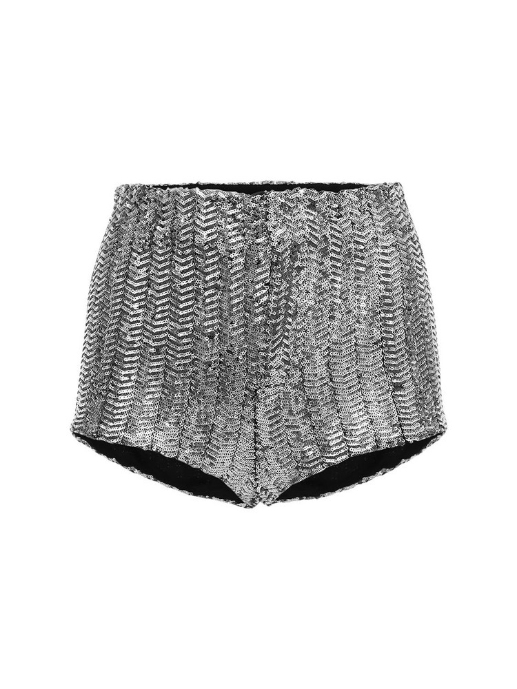 ISABEL MARANT Ozidi Sequined Shorts in silver