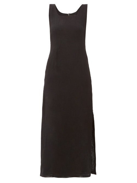 Lisa Marie Fernandez - Charlotte Square-neckline Midi Dress - Womens - Black