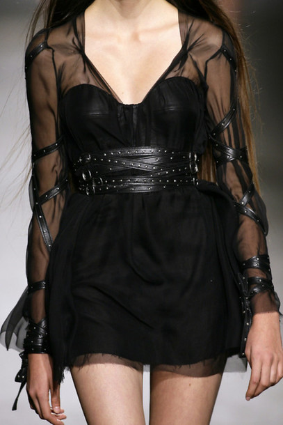dress goth black black dress leather