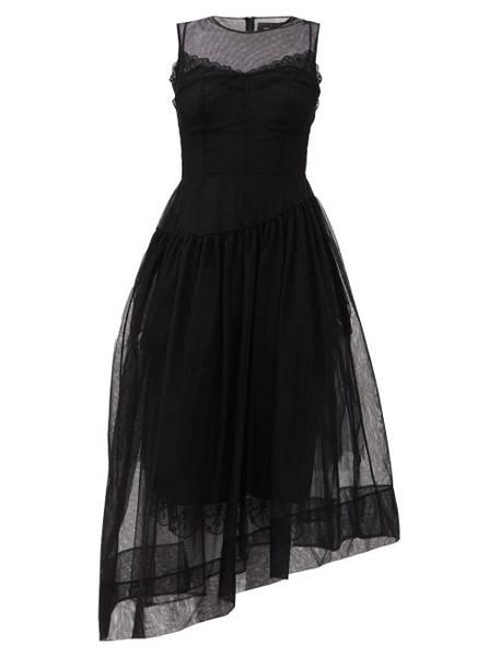 Simone Rocha - Asymmetric Tulle Midi Dress - Womens - Black