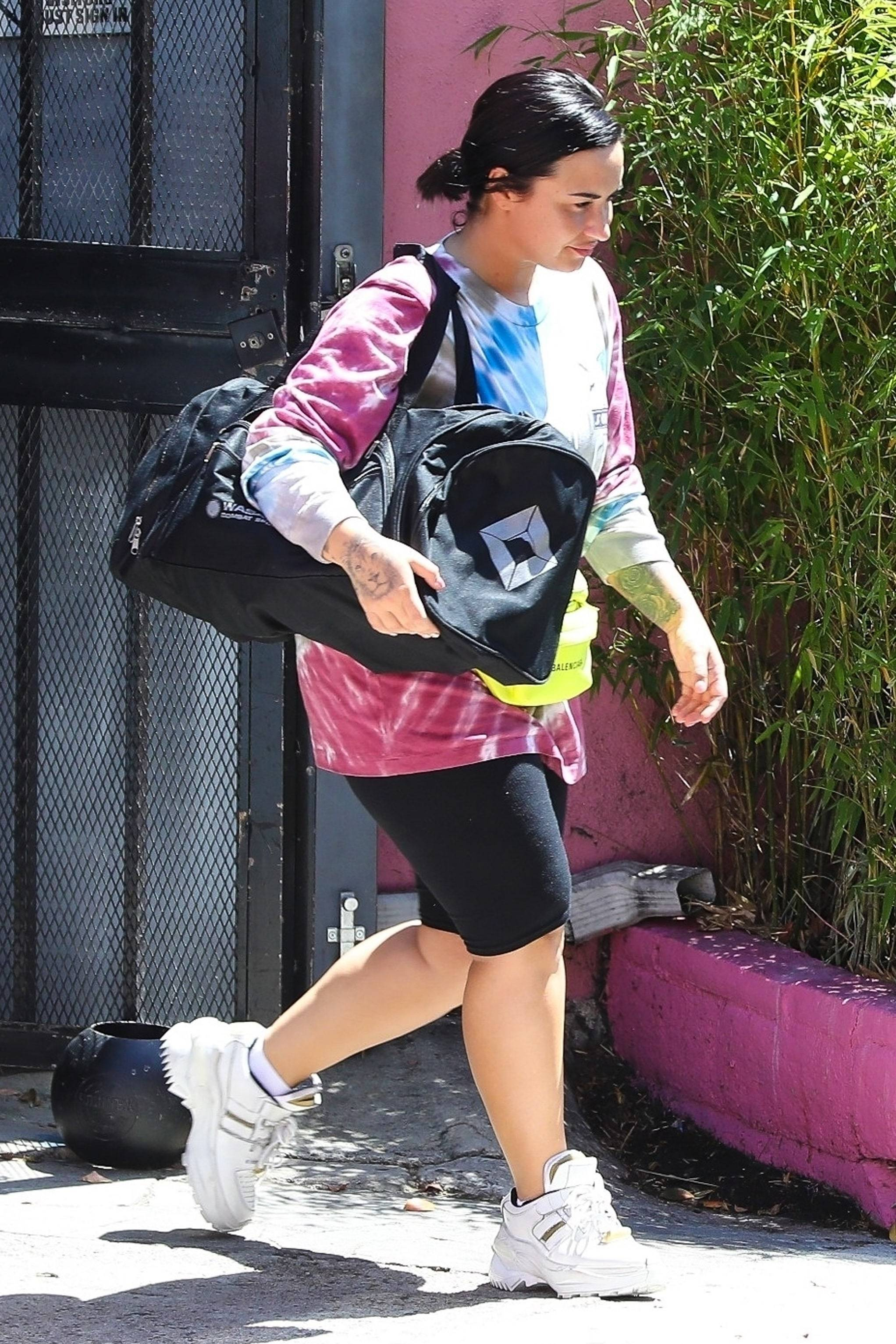 shorts demi lovato celebrity workout pants sporty sneakers