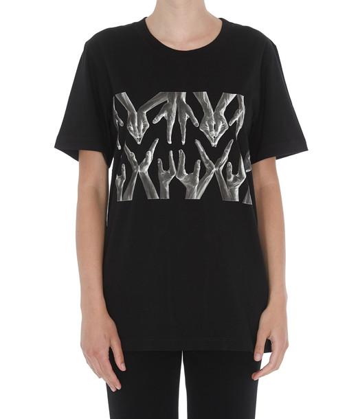 Mm6 Maison Margiela Logo Hands T-shirt in black