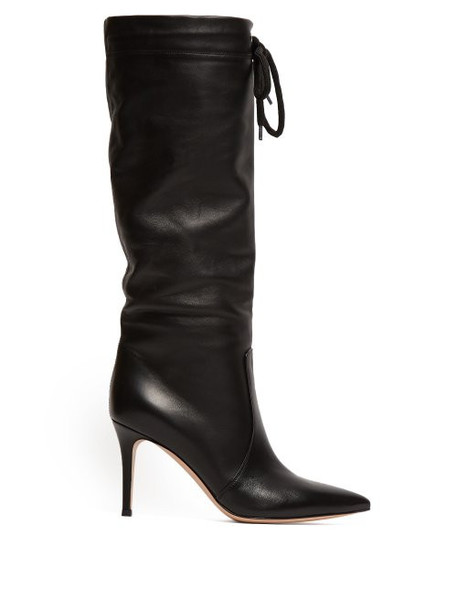 high knee high drawstring leather boots leather black shoes
