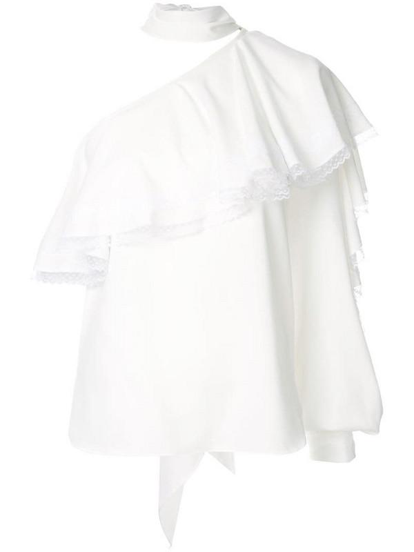 Ingie Paris ruffled one-shoulder blouse in white