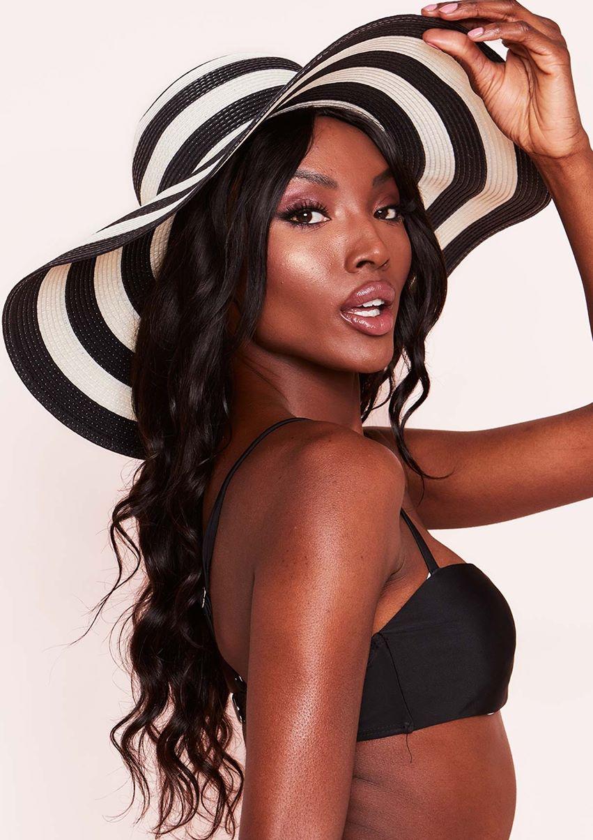 Juliet Black White Stripe Floppy Hat