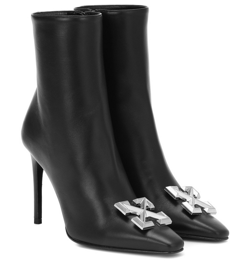 Off-White Embellished leather ankle boots in black