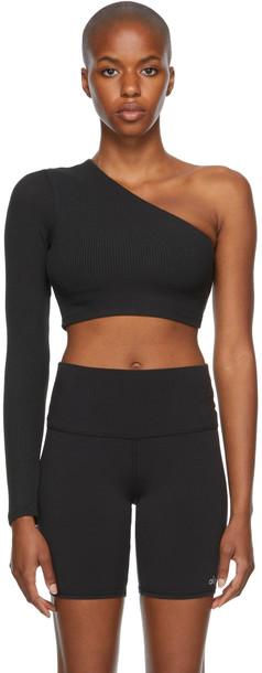 Alo Black Rib Knit Wave Sport Top