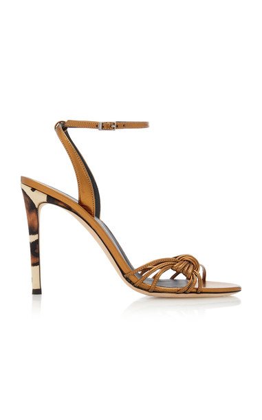 Giuseppe Zanotti Basic 105 Ankle-Wrap Leather Sandals Size: 5 in metallic
