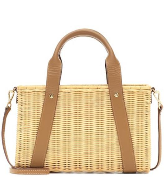 Kayu Daisy straw shoulder bag in brown